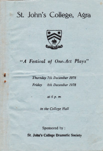 Festival of One Act Plays, Dec 1978, St. John's Agra