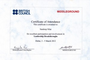 Leadership Breakthroughs Award by British Council, Dubai, 2012