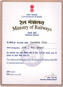 Meritorious Performance Award by Minister of Railways-47th Railway Week 2002