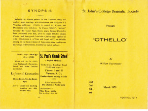 Othello, Mar 1979, St. John's, Agra