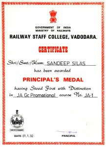 Principal Railway Staff College Award for having stood 1st with Distinction