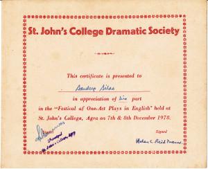 St. John's Dramatic Society, Agra, 1978