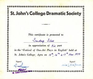 St. John's Dramatic Society, Agra, 1979