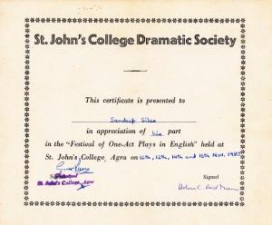 St. John's Dramatic Society, Agra, 1980