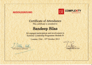 Systemic Leadership Programme Award by MiDDLEGROUND & LSE Complexity, London, 2012