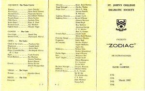 ZODIAC by St. John's College Dramatic Society Mar 1980